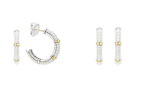 LAGOS 18K Gold and Sterling Silver White Caviar Hoop Earrings - Bloomingdale's_2