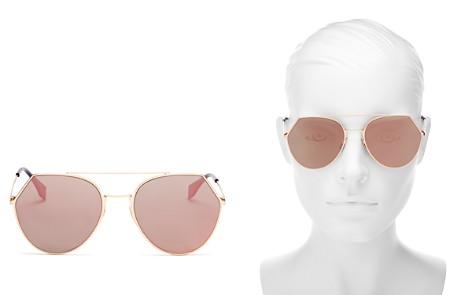 Fendi Women's Eyeline Mirrored Brow Bar Round Sunglasses, 55mm - Bloomingdale's_2