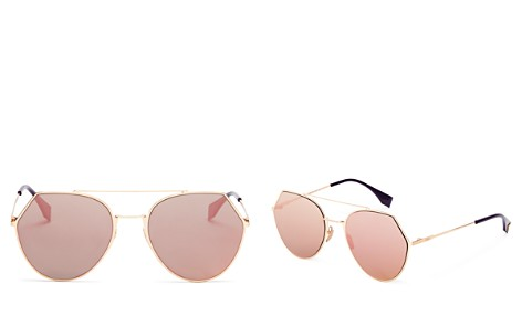 Fendi Eyeline Mirrored Brow Bar Round Sunglasses, 55mm - Bloomingdale's_2