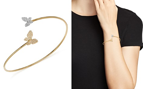 KC Designs Diamond Micro Pavé Butterfly Bangle in 14K Yellow and White Gold, .25 ct. t.w. - Bloomingdale's_2