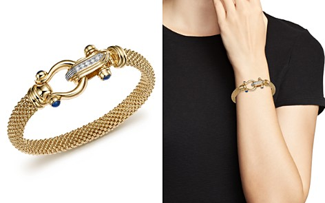 14K Yellow Gold Beaded Mesh Bracelet with Diamond Clasp - 100% Exclusive - Bloomingdale's_2