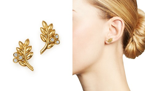 Temple St. Clair 18K Yellow Gold Olive Branch Earrings with Diamonds - 100% Exclusive - Bloomingdale's_2