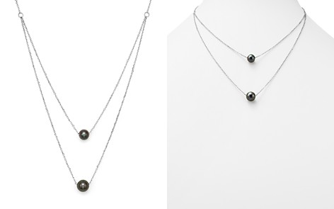 "Cultured Tahitian Black Pearl Two Row Necklace in 14K White Gold, 17"" - 100% Exclusive - Bloomingdale's_2"