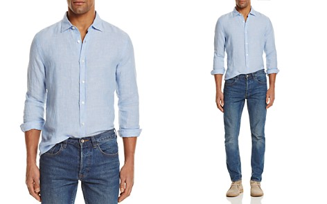 The Men's Store at Bloomingdale's Linen Striped Regular Fit Button-Down Shirt - 100% Exclusive_2
