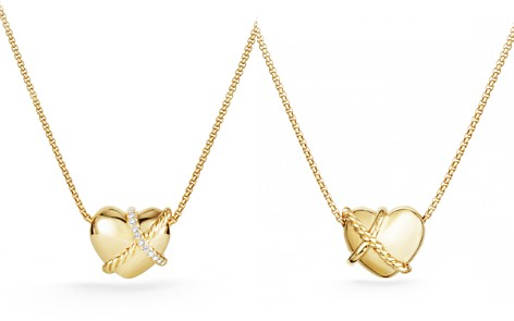 David Yurman Le Petit Coeur Sculpted Heart Pendant Necklace with Diamonds in 18K Gold - Bloomingdale's_2
