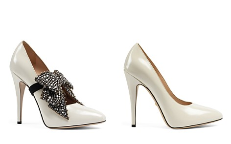 Gucci Elaisa Embellished Bow Leather Pumps - Bloomingdale's_2