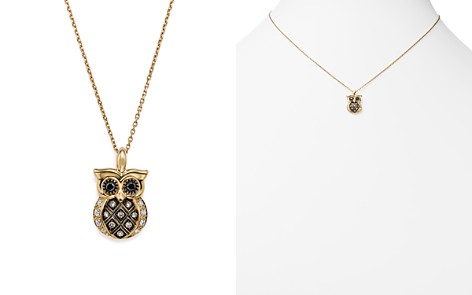 """White and Brown Diamond Owl Pendant Necklace in 14K Yellow Gold, 16"""" - 100% Exclusive - Bloomingdale's_2"""