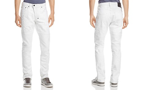 PRPS Goods & Co. Marvel Destroyed Moto Slim Fit Jeans in White - Bloomingdale's_2