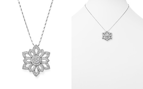 Diamond Flower Cluster Pendant Necklace in 14K White Gold, 1.50 ct. t.w. - 100% Exclusive - Bloomingdale's_2