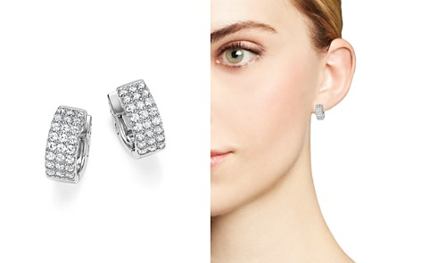 Diamond Triple Row Huggie Hoop Earrings in 14K White Gold, .75 ct. t.w. - 100% Exclusive - Bloomingdale's_2