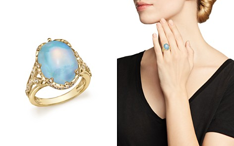 Oval Opal Statement Ring with Diamond and Sapphire in 14K Yellow Gold - 100% Exclusive - Bloomingdale's_2