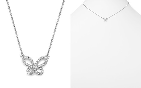 """KC Designs 14K White Gold Diamond Butterfly Necklace, 15"""" - Bloomingdale's_2"""
