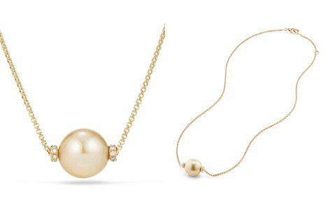 David Yurman Solari Single Station Necklace in 18K Gold with Diamonds and South Sea Yellow Cultured Pearl - Bloomingdale's_2