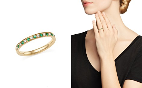 Emerald and Diamond Beaded Band in 14K Yellow Gold - 100% Exclusive - Bloomingdale's_2