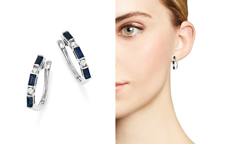 Sapphire and Diamond Earrings in 14K White Gold - 100% Exclusive - Bloomingdale's_2