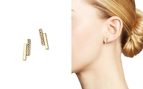 14K Yellow Gold Textured Double Bar Stud Earrings - 100% Exclusive - Bloomingdale's_2
