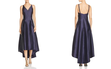 Carmen Marc Valvo Infusion Mikado V-Neck High/Low Gown - Bloomingdale's_2