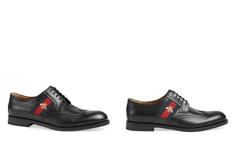 Gucci Leather Brogue Derby Shoes with Bee Web - Bloomingdale's_2