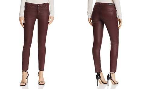 AG Coated Legging Ankle Jeans in Leatherette Light Deep Currant - Bloomingdale's_2