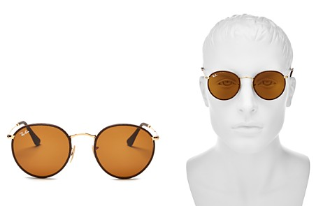 Ray-Ban Leather-Wrapped Round Sunglasses - Bloomingdale's_2