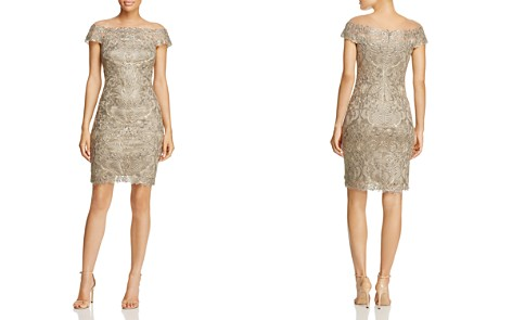 Tadashi Shoji Embroidered Illusion Off-the-Shoulder Dress - 100% Exclusive - Bloomingdale's_2