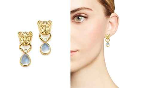 Temple St. Clair 18K Yellow Gold Lion Cub Diamond and Royal Blue Moonstone Drop Earrings - Bloomingdale's_2