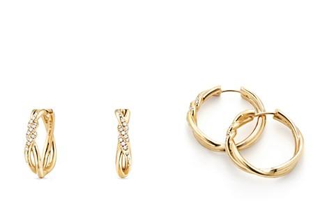 David Yurman Continuance Knot Hoop Earrings with Diamonds in 18K Gold - Bloomingdale's_2