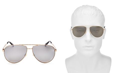 Gucci Men's Retro Signature Stripe Mirrored Brow Bar Aviator Sunglasses, 61mm - Bloomingdale's_2