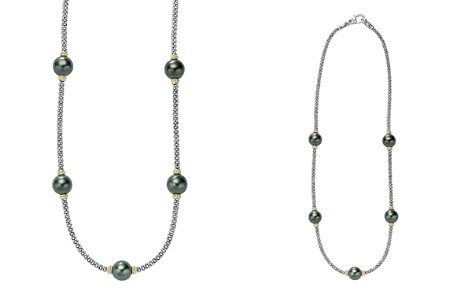 "LAGOS 18K Gold and Sterling Silver Luna Cultured Tahitian Pearl Five Station Necklace, 18"" - Bloomingdale's_2"