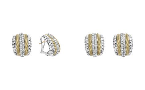 LAGOS 18K Gold and Sterling Silver Diamond Lux Curved Huggie Hoop Earrings - Bloomingdale's_2