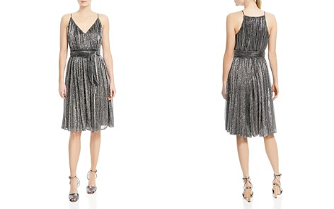 HALSTON HERITAGE Metallic Jersey Belted Dress - Bloomingdale's_2