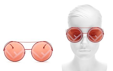 Fendi Mirrored Oversized Logo Print Lens Round Sunglasses, 62mm - Bloomingdale's_2