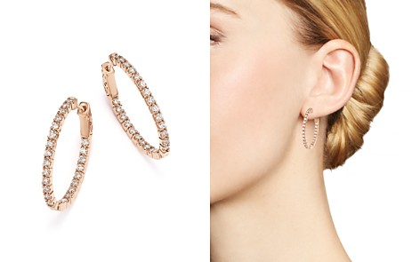 Bloomingdale's Diamond Inside-Out Oval Hoop Earrings in 14K Rose Gold, 1.50 ct. t.w. - 100% Exclusive _2