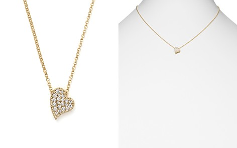 "Roberto Coin 18K Yellow Gold Tiny Treasures Princess Diamond Heart Necklace, 18"" - Bloomingdale's_2"