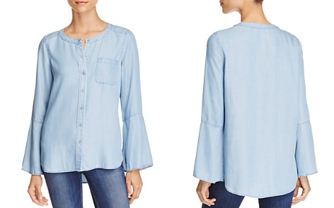VINCE CAMUTO Chambray Bell Sleeve Top - Bloomingdale's_2