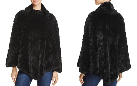Surell Rex Rabbit Fur Knit Poncho - Bloomingdale's_2