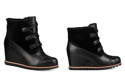 UGG® Women's Alasdair Waterproof Leather, Suede & Sheepskin Wedge Booties - Bloomingdale's_2