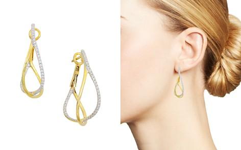 Frederic Sage 18K Yellow Gold Crossover Diamond Hoop Earrings - Bloomingdale's_2