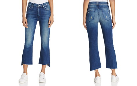 MOTHER Insider Cropped Frayed-Ankle Jeans in Dark Graffiti - Bloomingdale's_2