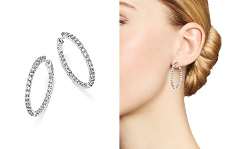 Bloomingdale's Diamond Inside Out Hoop Earrings in 14K White Gold, 4.0 ct. t.w. - 100% Exclusive _2