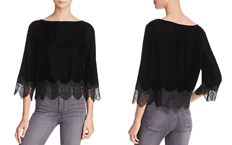 Bailey 44 Fade to Black Lace-Trim Velvet Top - Bloomingdale's_2