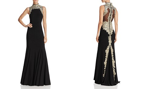 Avery G Embroidered Mock Neck Gown - Bloomingdale's_2
