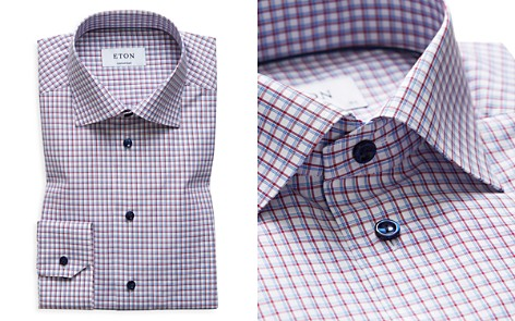 Eton Windowpane Grid Contrast Button Regular Fit Dress Shirt - Bloomingdale's_2