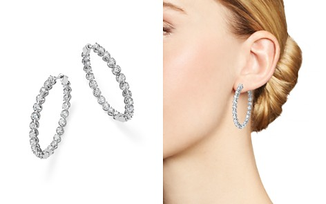 Bloomingdale's Diamond Inside Out Hoop Earrings in 14K White Gold, 5.0 ct. t.w. - 100% Exclusive _2