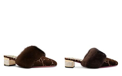 Gucci Women's Candy Velvet & Mink Fur Embellished Mules - Bloomingdale's_2