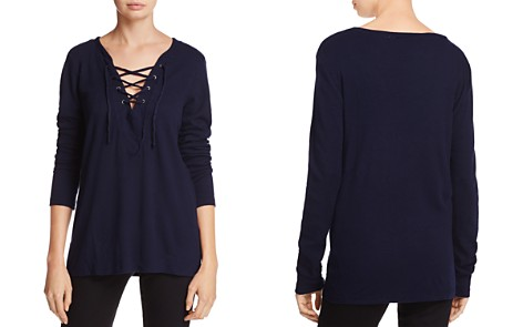 Michael Stars Lace-Up V-Neck Thermal Top - Bloomingdale's_2