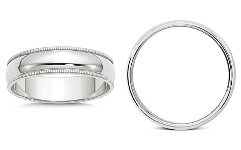 Bloomingdale's Men's 6mm Half Round Milgrain Band in 14K White Gold - 100% Exclusive_2