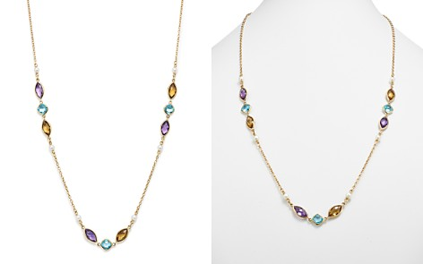"""Bloomingdale's Multi Gemstone & Cultured Freshwater Pearl Station Necklace in 14K Yellow Gold, 30"""" - 100% Exclusive _2"""