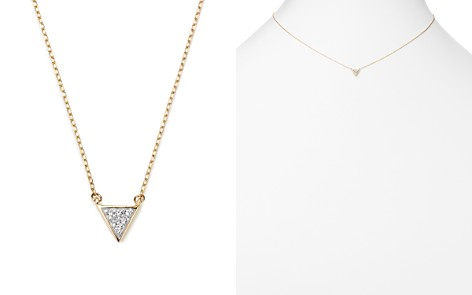 "Adina Reyter 14K Yellow Gold Super Tiny Pavé Diamond Triangle Necklace, 15"" - Bloomingdale's_2"