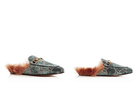 Gucci Women's Princetown Logo Embossed Velvet & Lamb Fur Mules - Bloomingdale's_2